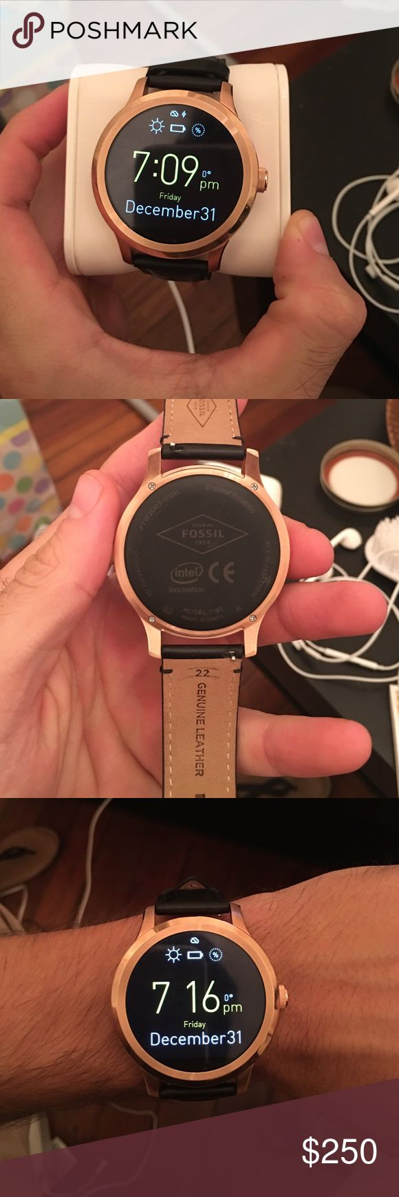 Fossil Q Founder Smart watch that connects to phone. Counts steps, shows text messages, and more features. Worn once, like new condition. No box included. Set up is easy. Comes with charging station Fossil Accessories Watches
