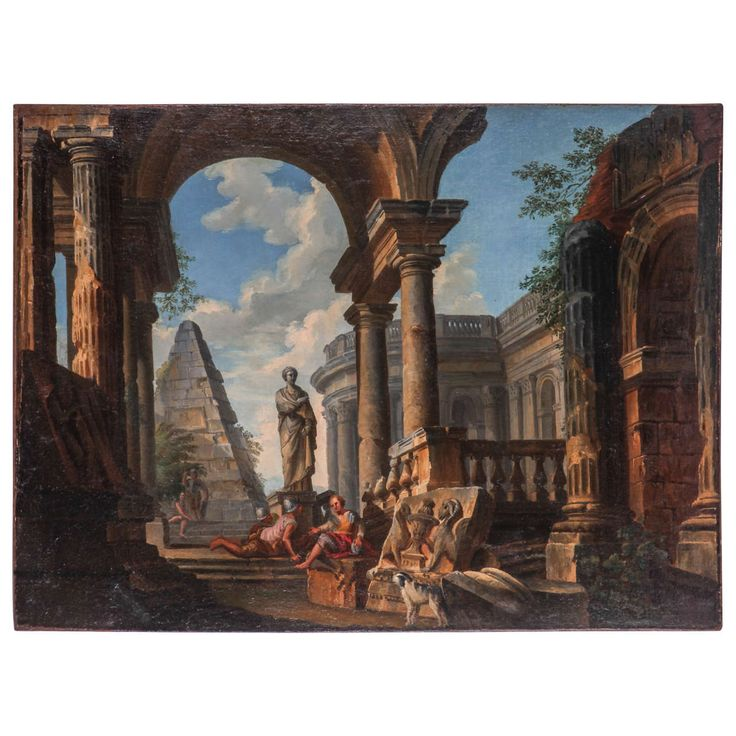 Giovanni Paolo Pannini (attr.), Architectural capriccio, oil on canvas, ca. 1760 | From a unique collection of antique and modern paintings at https://www.1stdibs.com/furniture/wall-decorations/paintings/