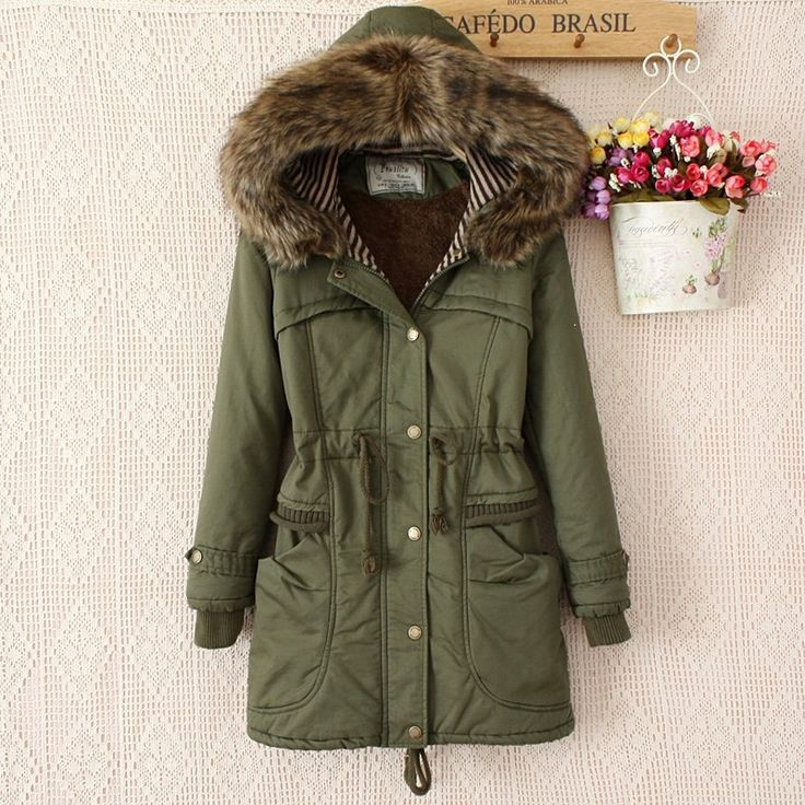Faux Fur Collar Long Winter Hooded Hat Coat