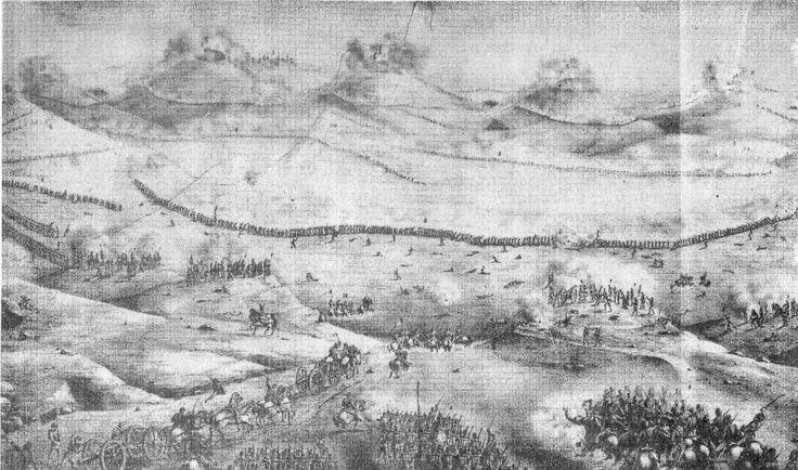 Batalla de Chorrillos, vista general, dibujo del capitán del Regimiento Buin Roberto Salcedo, se aprecia una larga fila de infantes desplegados en guerrilla