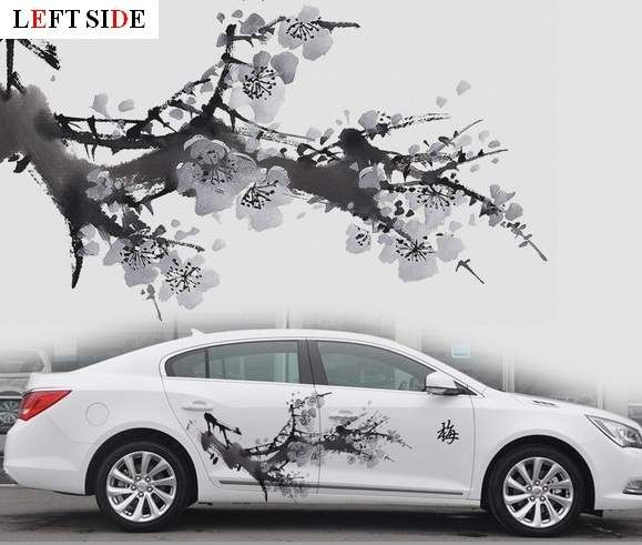 Left Side Car Stickers Both Sides Washing Painting Plum Blossom Tree Car Charger Floral Graceful Pretty Flower Waterproof Vi Charger Car Car Vinyl Car Stickers