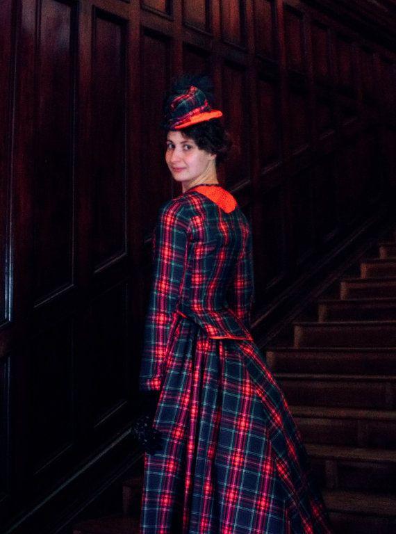 Victoriaanse jurk drukte tijdperk geruite door FiorentinaCostuming