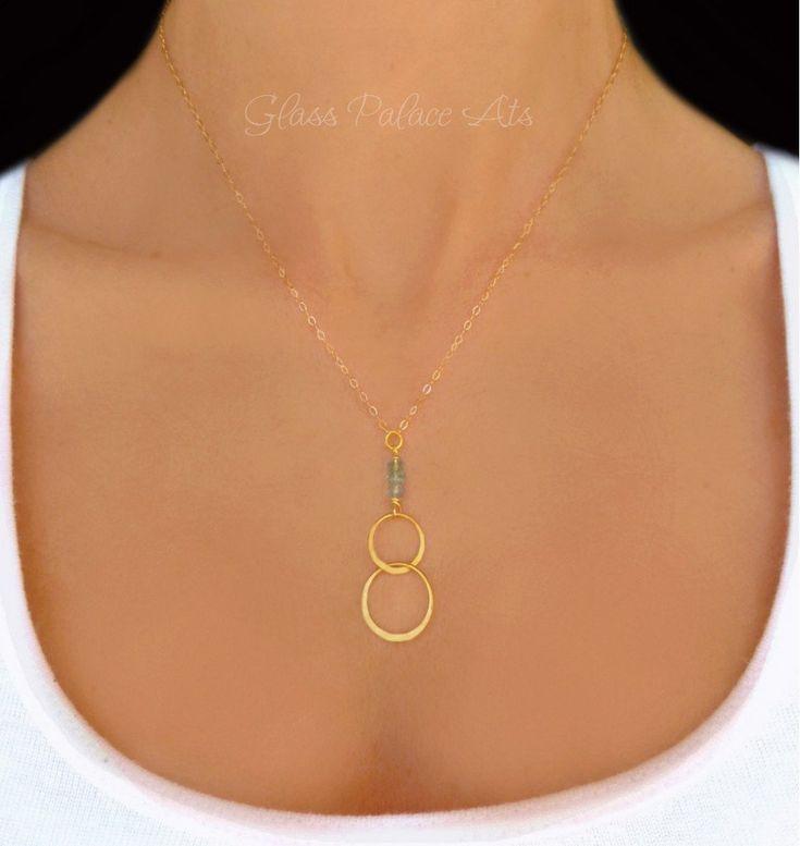 Infinity Pendant Necklace With Aqua Blue Green Apatite Gemstones
