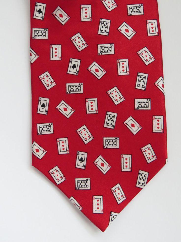 Vintage Silk Necktie by Tango Suit of Cards Poker Bridge Card Games Novelty Tie #Tango #NeckTie