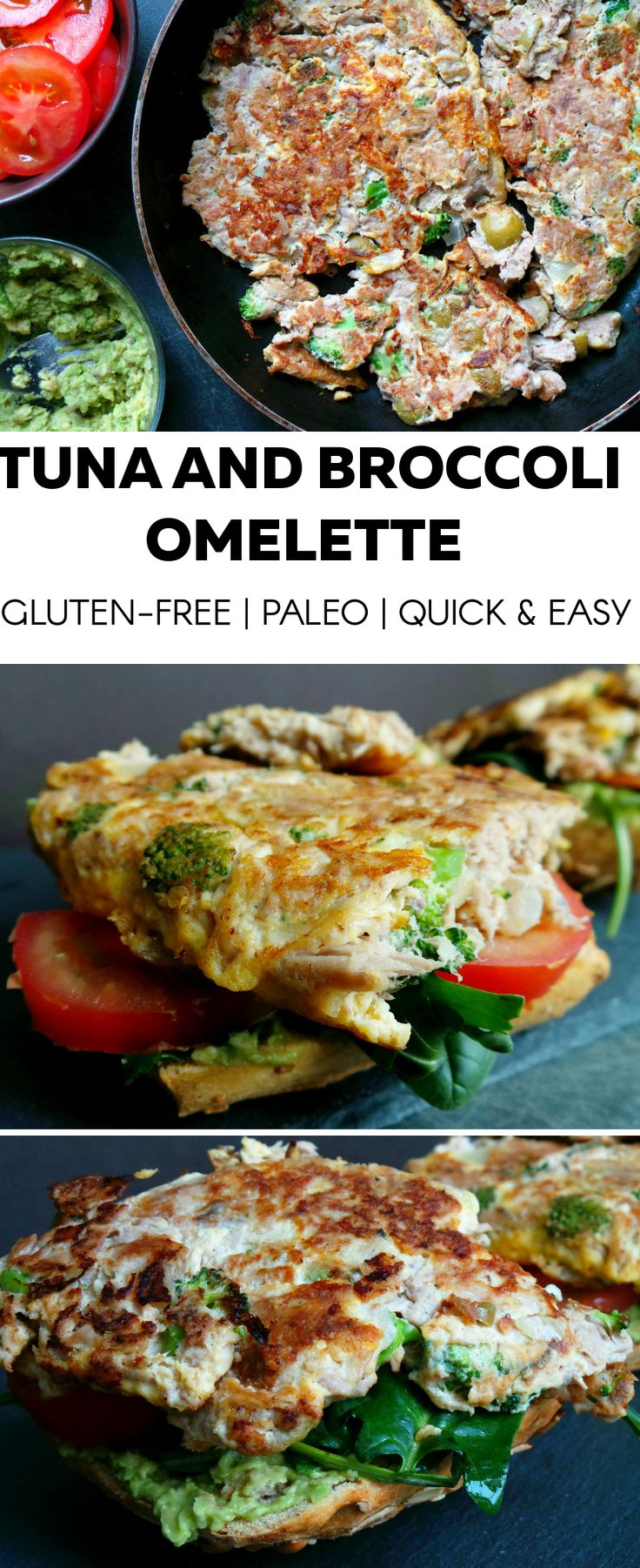 High protein tuna and broccoli omelette. Perfect as breakfast, lunch or dinner - whenever you don't have time to cook, this omelette just takes 10 minutes. To make it gluten-free and paleo: eat without the bread - is just as delicious, maybe even a little better.