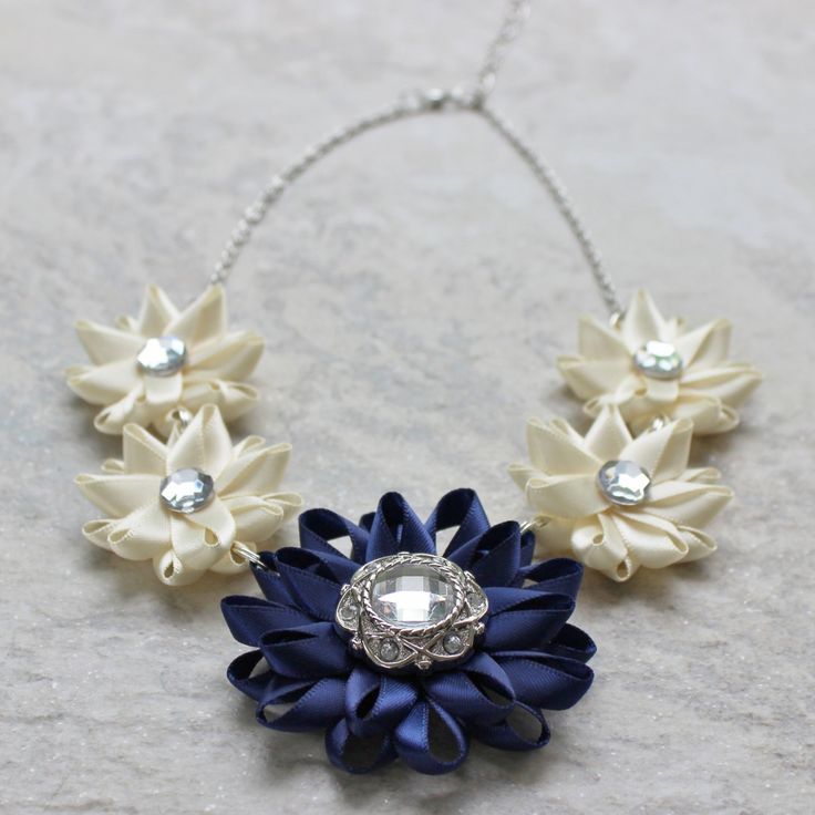 Navy Necklace with Ivory Bridesmaid Necklaces Statement Bridal Necklace Navy Blue Necklace Cream Necklace and Earrings Set Handmade