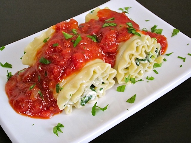 Spinach lasagna roll ups - try with cottage cheese/Greek yogurt combo, and use gluten free lasagna noodles. Yum!