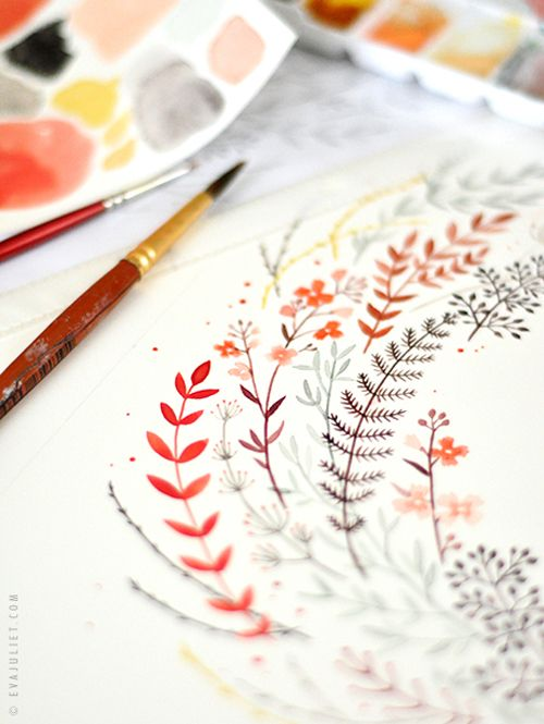In The Studio of Eva Juliet | Pretty Paintings and Illustrations from Mon Carnet Blog