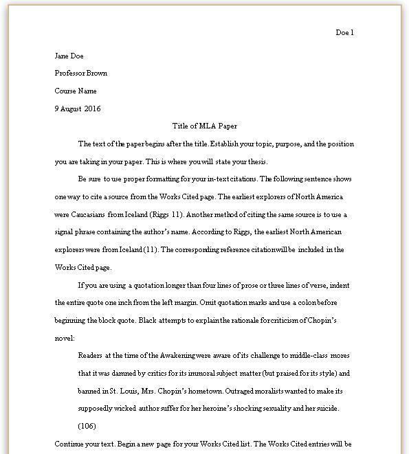 mla 8th edition paper formatting