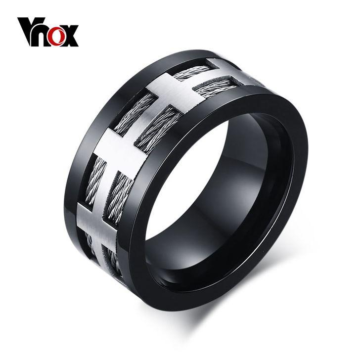 Punk hombres anillo de compromiso vnox trendy negro cross charm joyería de la boda de alambre de acero inoxidable de spike