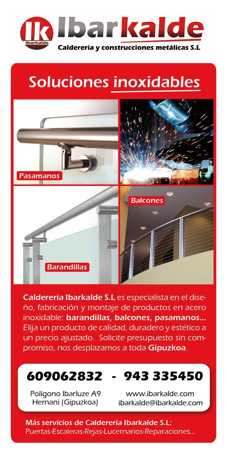"""""""Soluciones inoxidables"""" folletos de Ibarkalde para presentar sus servicios de productos en acero inoxidable. #hernani #donostia #gipuzkoa"""