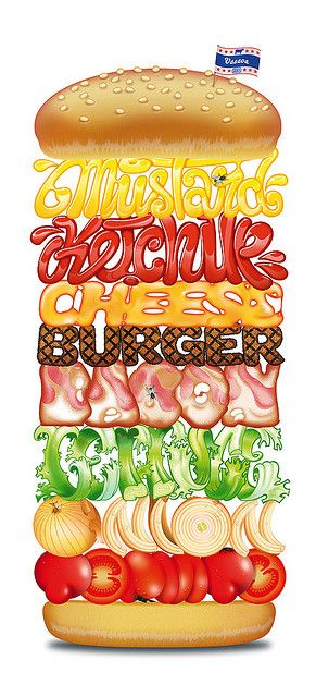 Burger Typography by Brett Jordan. What a cool concept!!