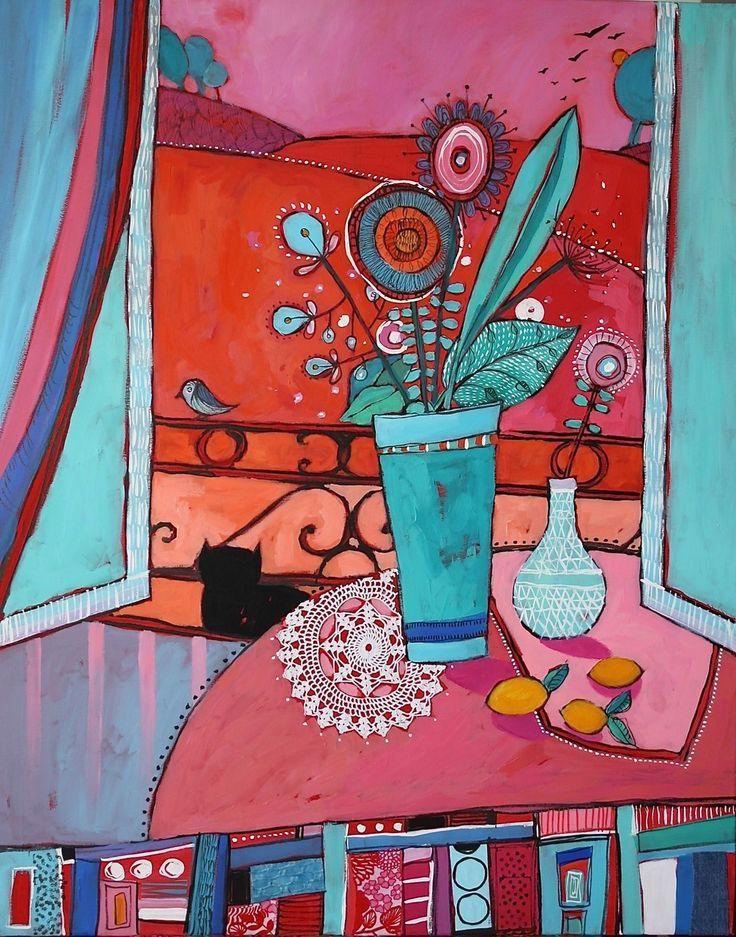 Vue par la fenêtre - Toile format : 100 cm x 80 cm