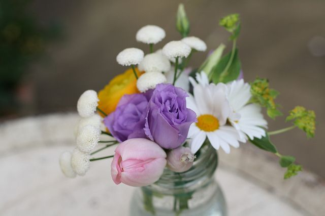 Bright Quirky Spring Flowers in Jam Jars by Passion for Flowers, via Flickr