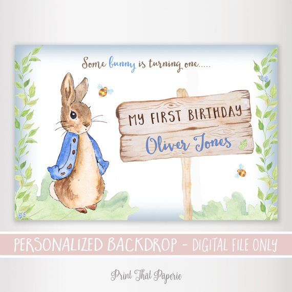 10 PERSONALISED PETER RABBIT BIRTHDAY INVITATIONS BLUE or PINK INITIAL