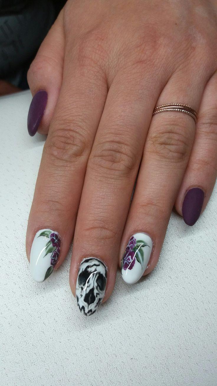 skull nails flower nails violet nails https://www.facebook.com/nailartdesignsalice/