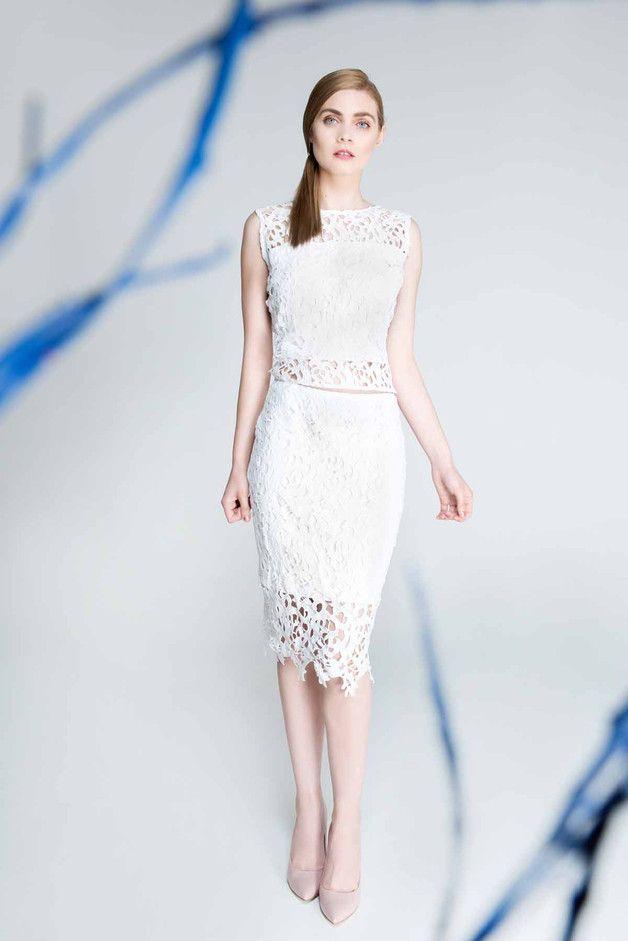 Spódnica koronkowa, biała. S100 - Fanfaronada - Spódnice ołówkowe