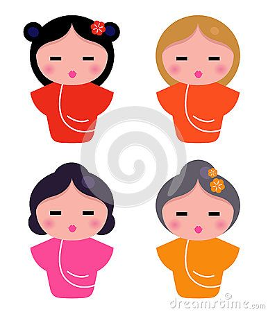 Colorful Geisha characters. Vector illustrations. Womans set.