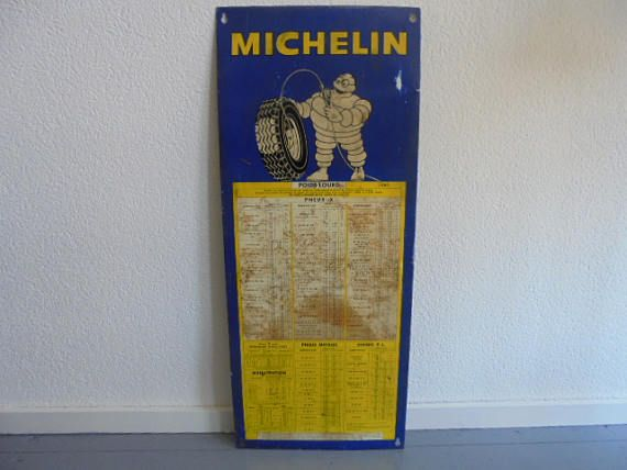 franse vintage metaal michelin plaat/bandenspanning