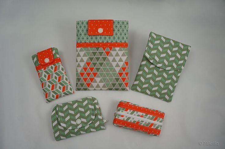 Handtaschenset aus Pattydoo-Stoffen: Kindle-Hülle, Handy-Hülle, Reisepasshülle, kleiner Geldbeutel, Tatüta
