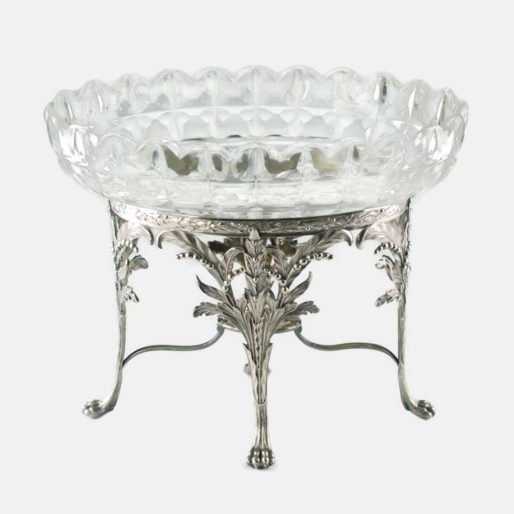 Antique English Sterling Silver Lily of the Valley Footed Centerpiece with Fitted Cut Crystal Bowl by BirneyCreek on Etsy https://www.etsy.com/listing/212084900/antique-english-sterling-silver-lily-of