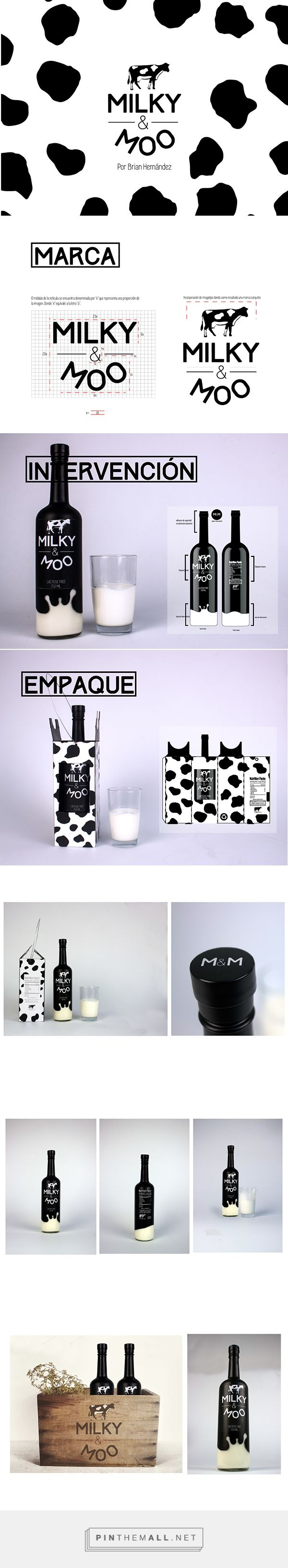 Branding and packaging design Milky & Moo on Behance by Brian Hernández Tegucigalpa, Honduras curated by Packaging Diva PD. Cute packaging concept for milk : )