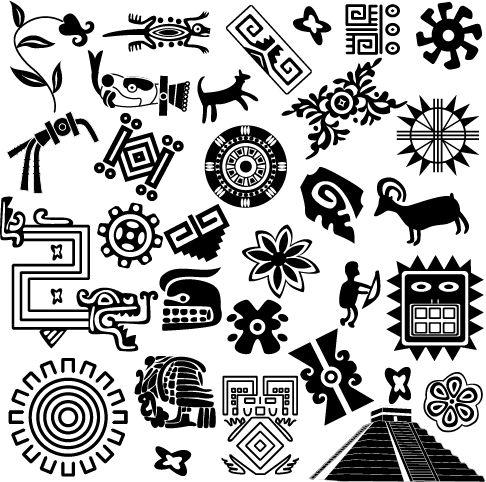 Ornamentos Mayas, imagen vectorial.