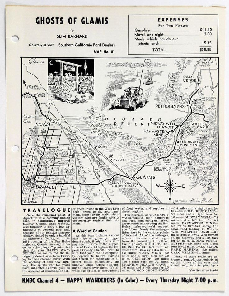 1960's GHOSTS OF GLAMIS CA Happy Wanderers Travelogue Slim Barnard Map KNBC Ford