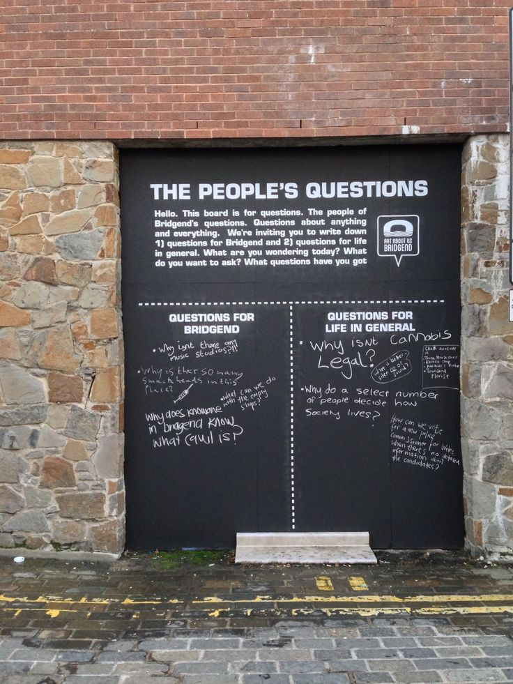 Oh wow! Two of my favorite things: questions and public art. Here the viewer is encouraged to share their own questions. I often make my own questions and have people answer them. But it would be cool to have people share their questions.