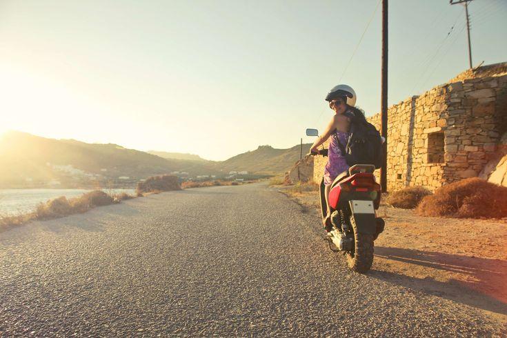 #asphalt #backpack #daylight #desert #girl #grass #helmet #house #landscape #moped #motor #motor scooter #motorbike #motorcycle #outdoors #road #sand #scooter #smile #street #sun #sunglasses #sunlight #transportation sy
