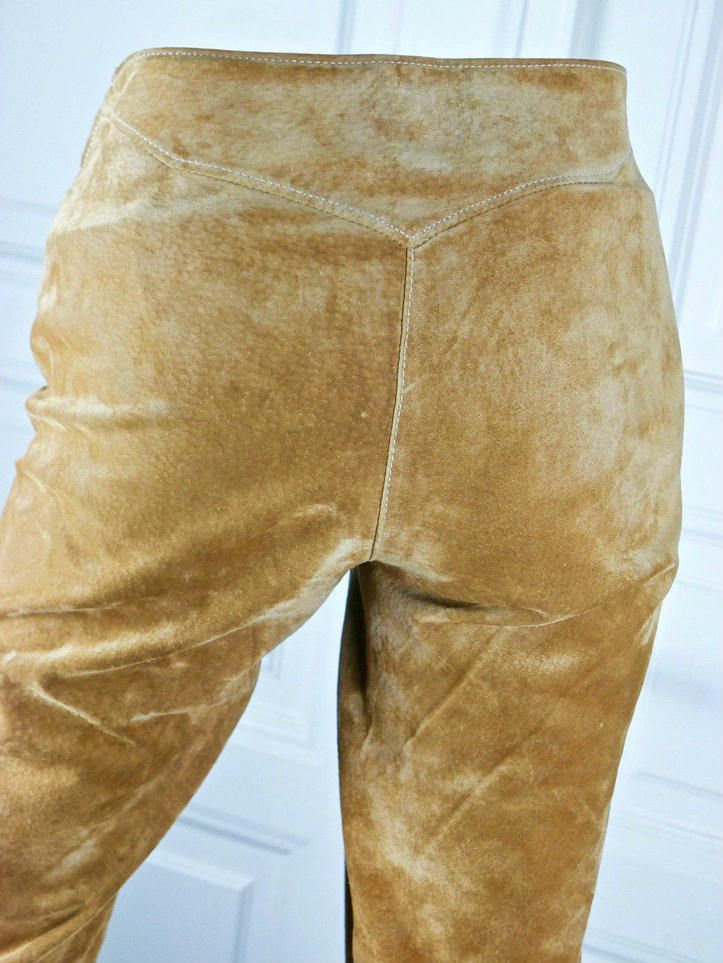 Vintage Suede Pants, Golden Tan Suede Leather Hip Huggers, Ladies Wide Boot Cut Suede Trousers: 32 inches x 30 inches by YouLookAmazing on Etsy