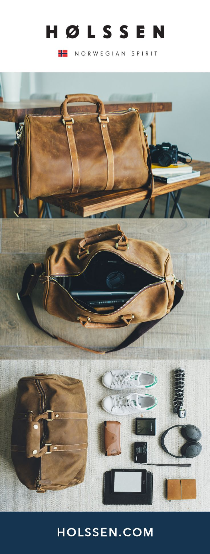 Leather duffel weekender bag perfect for traveling and weekend escapes.