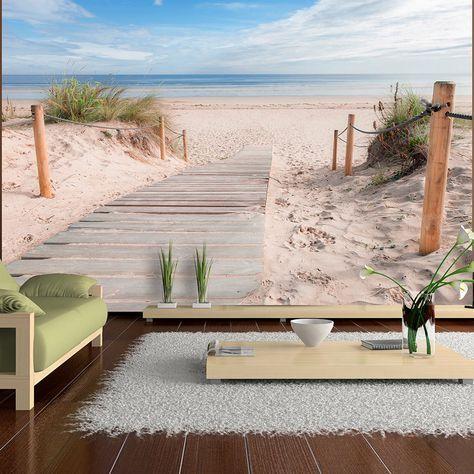 vlies tapete top fototapete wandbilder xxl 400x280 cm strand meer landschaft c b 0005 a b - Badgestaltung Mit Tapete