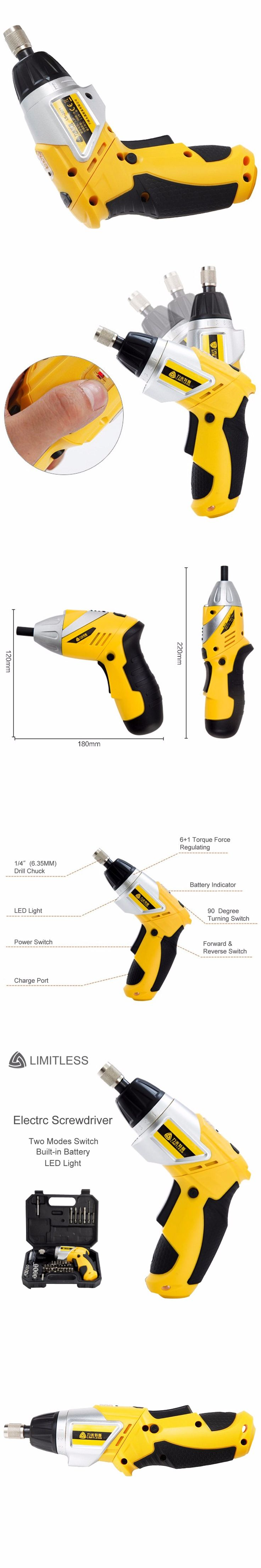 3.6V Rechargeable Lithium Battery Electric Screwdriver Kit 90 Degree Rotary Household Electric Drill