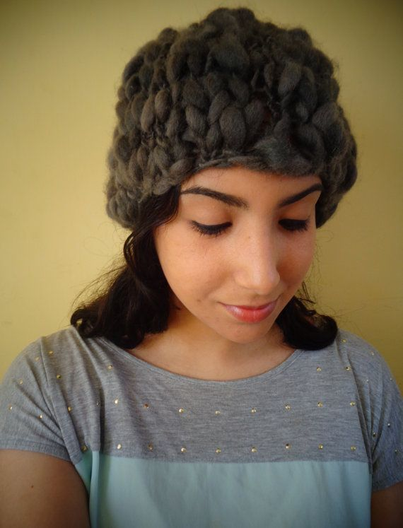 Textured Knitted Wool Hat by deorigenchile on Etsy