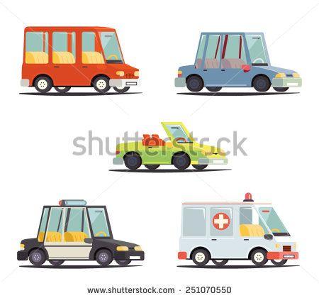 Cartoon Transport Car Vehicle Icon Design Stylish Retro Flat Vector Illustration