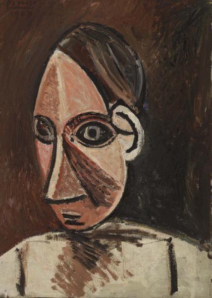 Pablo Picasso - Head of a Woman (Tête de femme) - 1907 Oil on canvas 18 1/8 x 13 in. (46 x 33 cm)