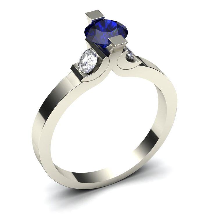 Sieraden ontwerpen - Witgouden ring met blauwe saffier en diamanten
