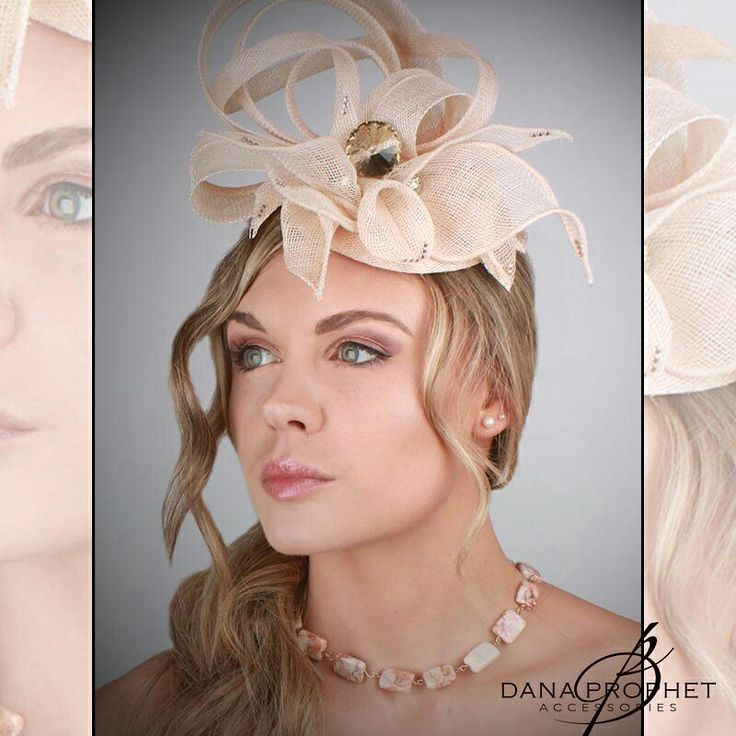 Peach Sinamay Fascinator. This fascinator is full of gorgeous accents located within the twists and lilies. Shown with a red marble 12k gold fill necklace also available from Dana Prophet Accessories!  This fascinator is available at Desch in Sandton City! http://www.desch.co.za/. For other accessories, visit https://danaprophetaccessories.com  #hat #jewelry #jewellery #hats #fascinators #races #durbanjuly #horserace #southafrica #kentuckyderby