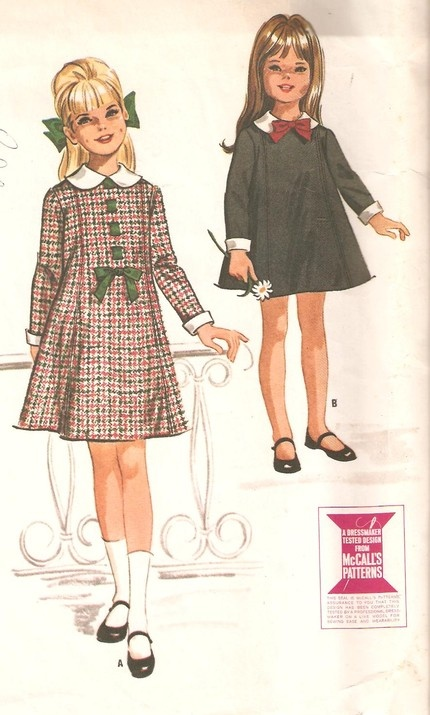 vintage sewing pattern- M7445 Helen Lee, 1964. i just want a dress like the one on the right.