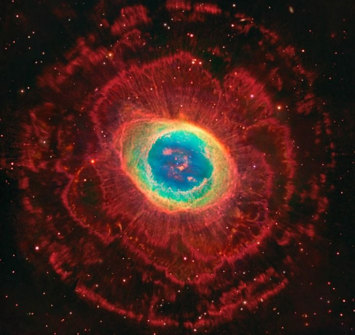 Rings Around the Ring Nebula. APOD, August 13, 2014. It's a familiar sight. But not this remarkably deep exposure. See further explanation. image credit: Hubble, Large Binocular Telescope, Subaru Telescope. composition & copyright: Robert Gendler.