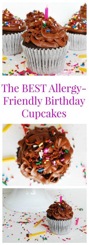 The BEST Allergy-friendly Chocolate Birthday Cupcakes (Gluten, dairy, egg, peanut & tree nut free; vegan) Dessert recipe by AllergyAwesomeness.com