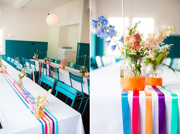 rainbow colours ribbon runners and dipped jars