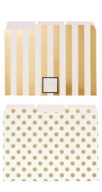 STYLE: dots maintain a clean and stylish office space by keeping important loose papers neatly organized in these beautiful file folders in gold dots or gold stripes from kate spade new york®. eleganc