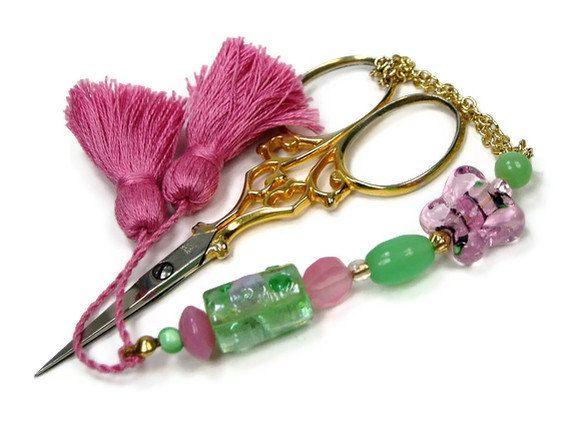 Beaded Scissor Fob Cross Stitch Needlepoint Pink by TJBdesigns, $18.00