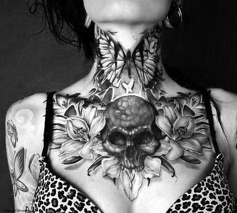 Dark Skull and Flower Chest Piece & Butterfly Throat Tattoo #WomenTattoos