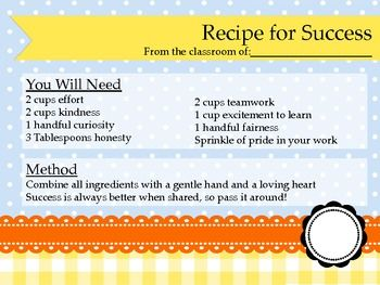 RECIPE FOR SUCCESS FIRST DAY OF SCHOOL ACTIVITY - TeachersPayTeachers.com