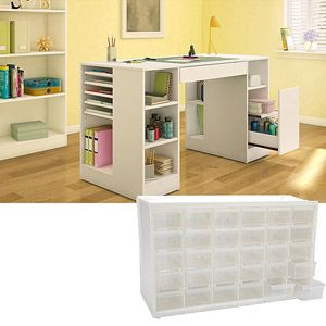 South Shore Crea Craft Table, Pure White with ArtBin Store-In-Drawer Cabinet, Translucent