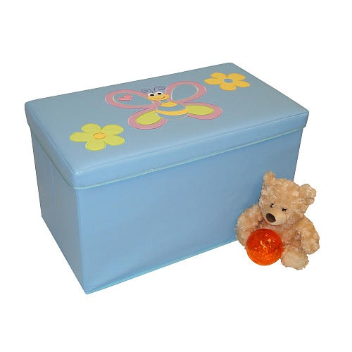 River ridge kids storage ottoman light blue with bee and for Kids storage ottomans
