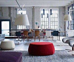 loft interior design ideas with purple modular sofa in living room open plan with dining room with smart pendant lamp - Interieur Mit Rustikalen Akzenten Loft Design Bilder